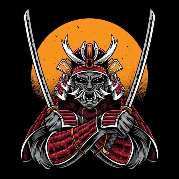 Samurai holding katana vector artwork Premium Vector