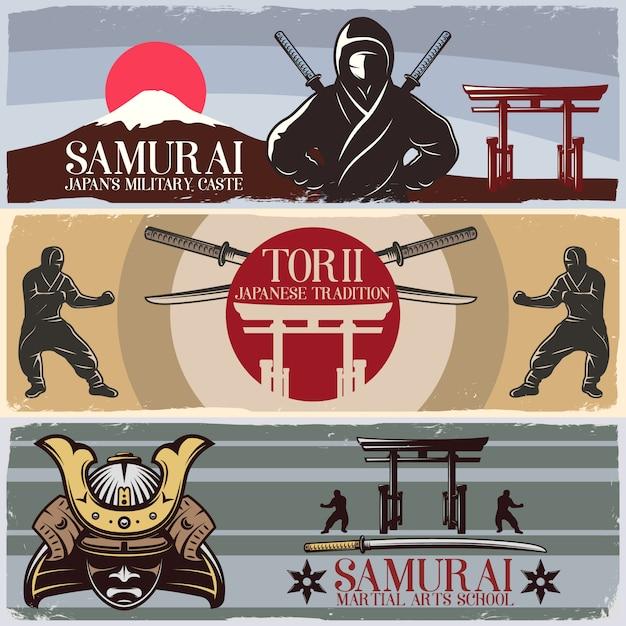 Набор горизонтальных баннеров для самураев Бесплатные векторы