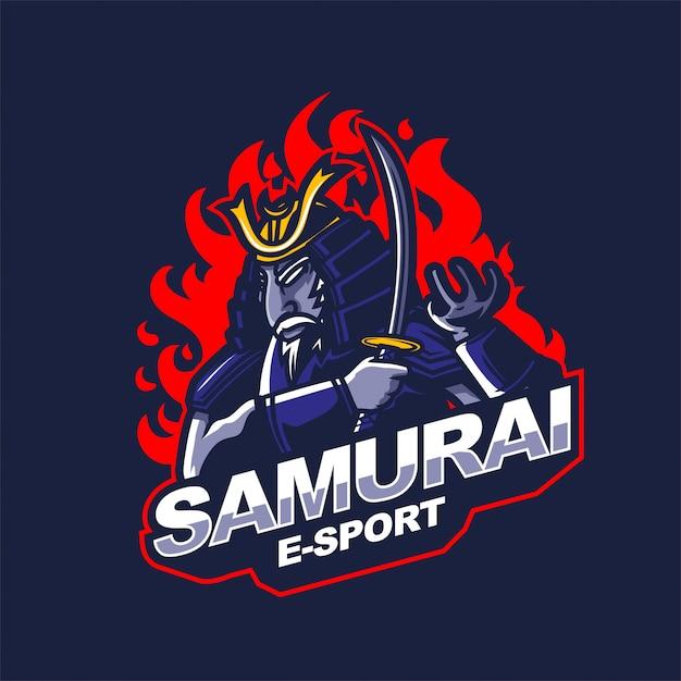 Samurai knight e-sport gaming mascot logo template Premium Vector