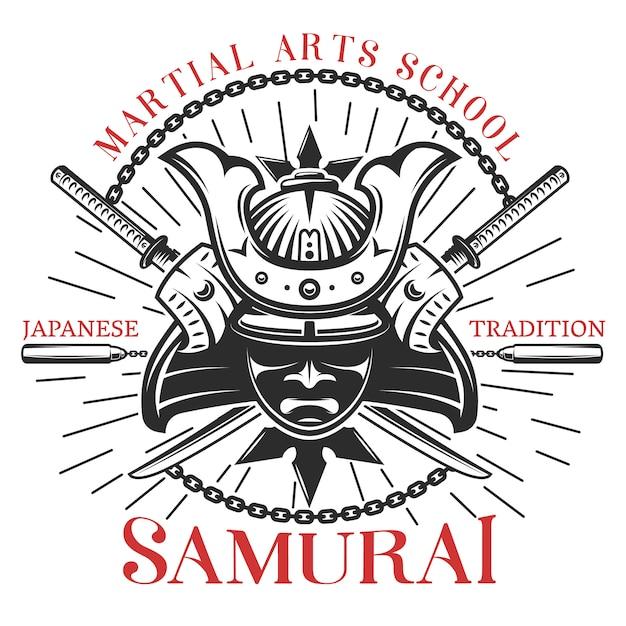 Samurai martial arts print Free Vector