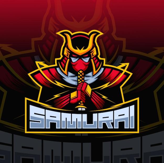 Samurai mascot esport logo Premium Vector