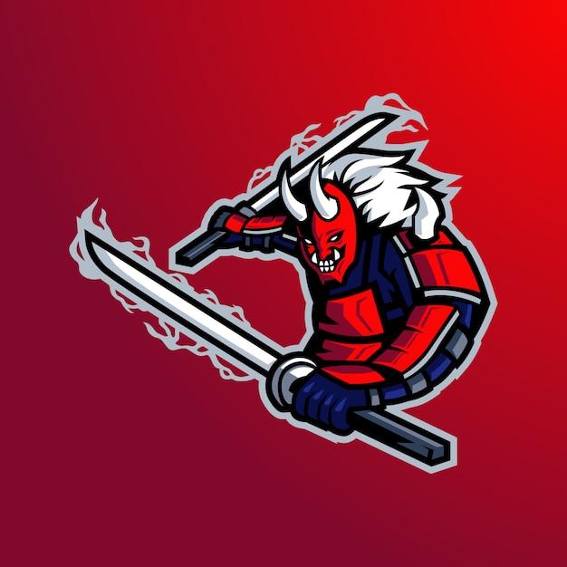Samurai mascot logo   Premium Vector