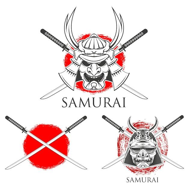 Samurai mask.   design elements Premium Vector