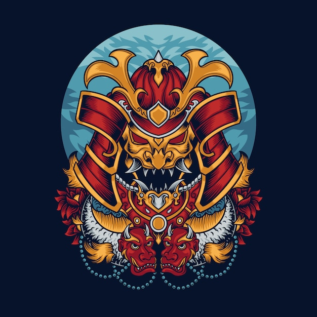 Samurai mask illustration Premium Vector
