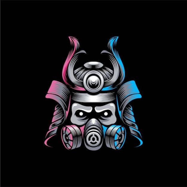 Samurai mask logo design illustration Premium Vector