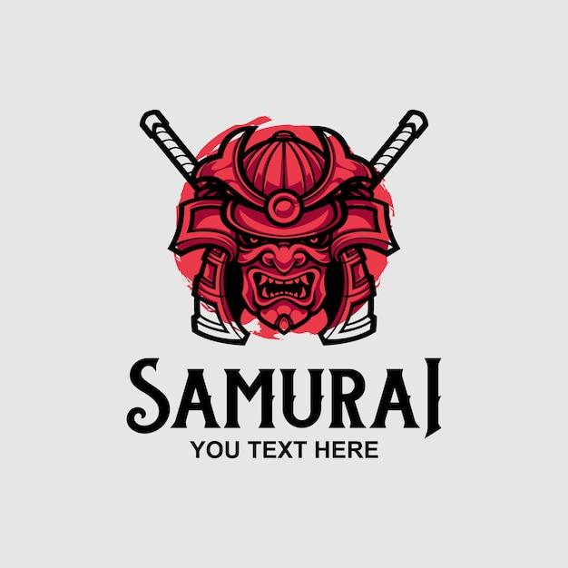 Samurai mask logo design template Premium Vector