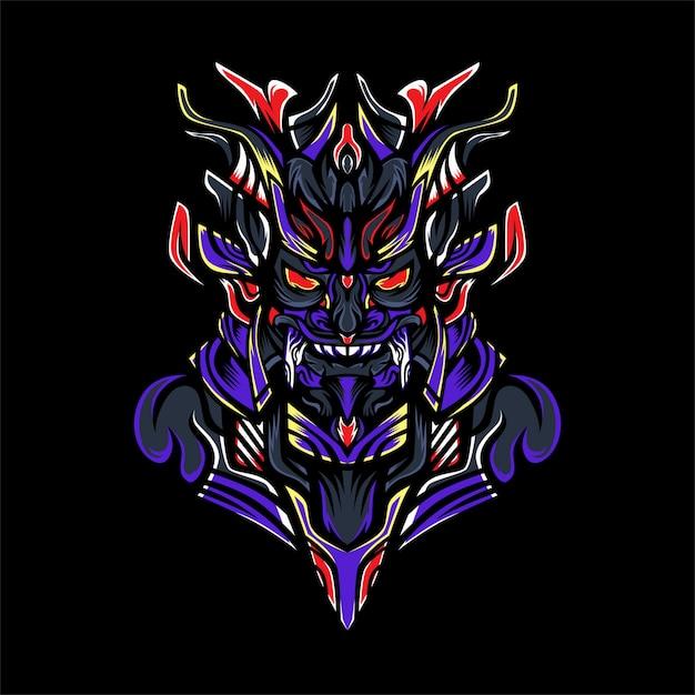 Samurai monster Premium Vector