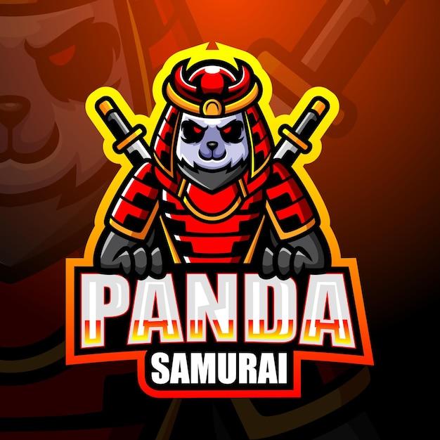 Самурай панда талисман киберспорт иллюстрация Premium векторы