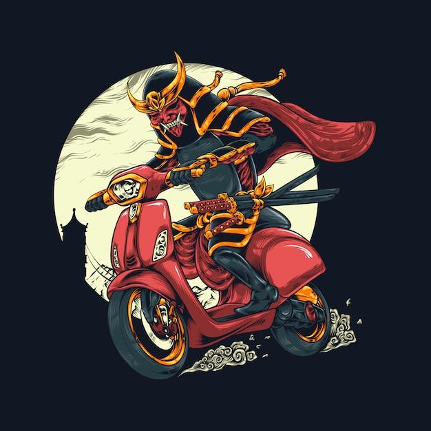 Samurai riding illustration Premium Vector