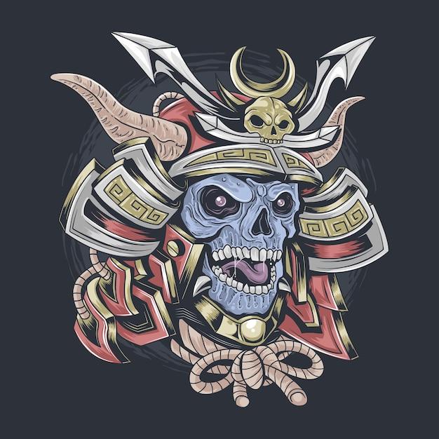 Самурайский череп в самурайском шлеме редактируемый слой Premium векторы
