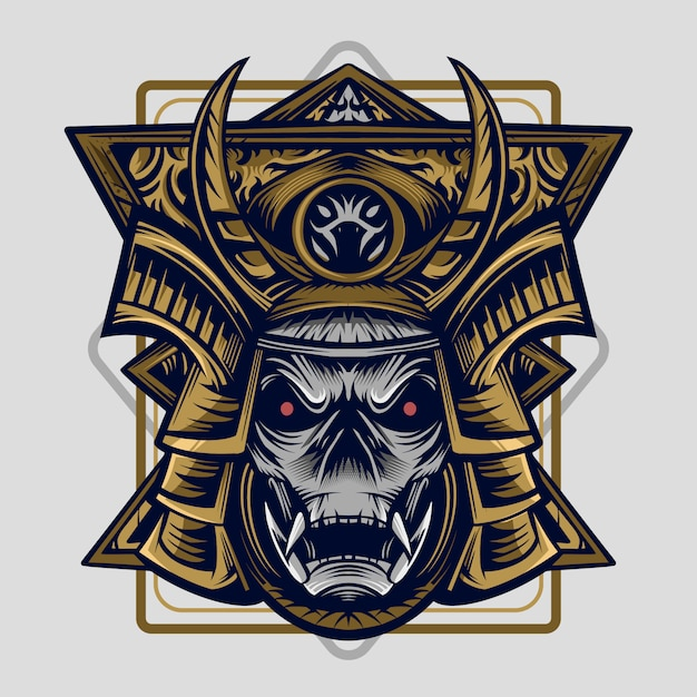 Samurai vector illustration high detail symmetry design artwork Premium Vector