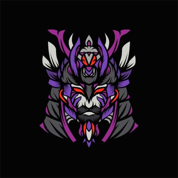 Samurai viking head vector Premium Vector