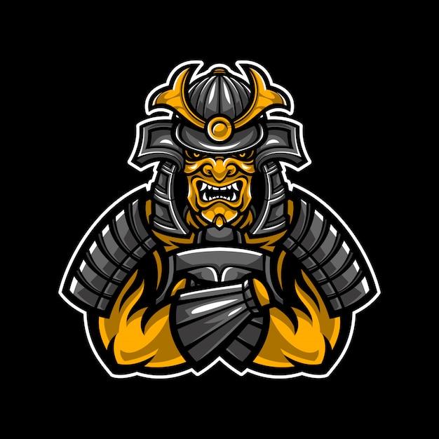 Samurai warrior illustration Premium Vector