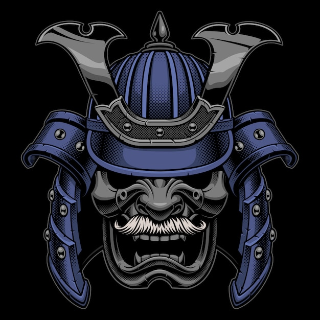 Samurai warrior mask with mustache Premium Vector
