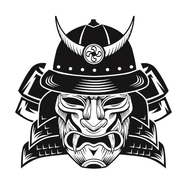 Samurai con maschera nera. immagine piatta combattente giapponese. illustrazione vettoriale vintage Vettore gratuito