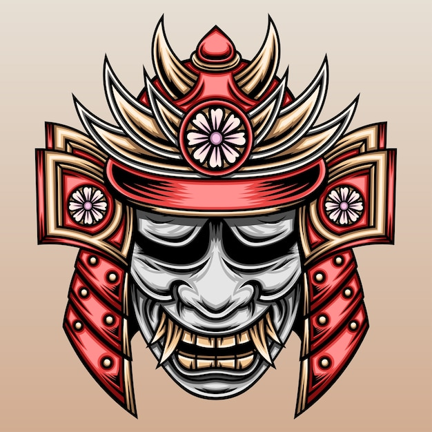 Samurai with hannya mask. Premium Vector