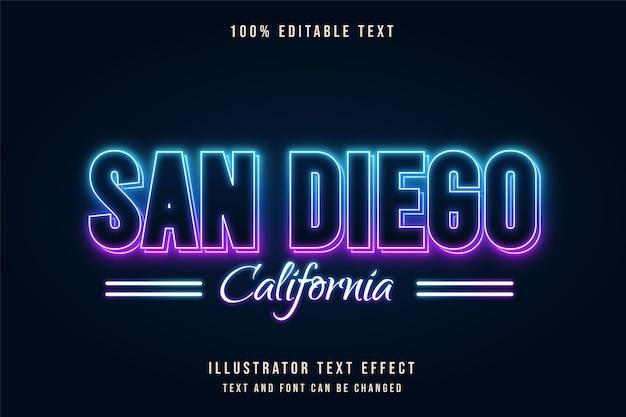 San diego california,editable text effect blue gradation purple neon text style Premium Vector
