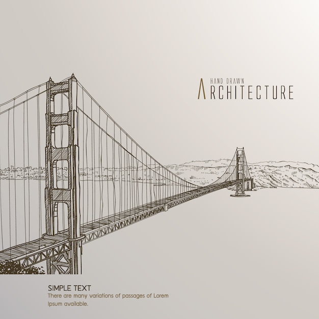San Francisco Bridge Hand Drawn Vector Free Download - San francisco map vector free download