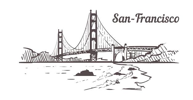 サンフランシスコ、ゴールデンゲートのスカイライン Premiumベクター