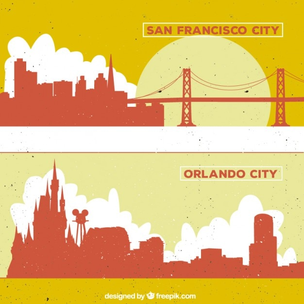 San francisco and orlando city silhouettes Free Vector
