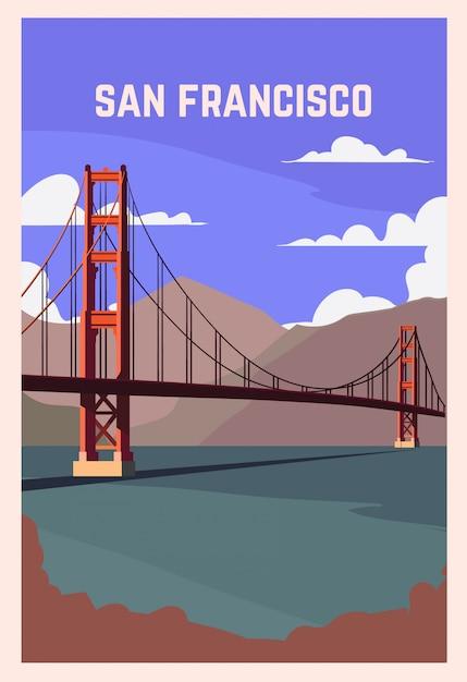 サンフランシスコのレトロなポスター。 Premiumベクター