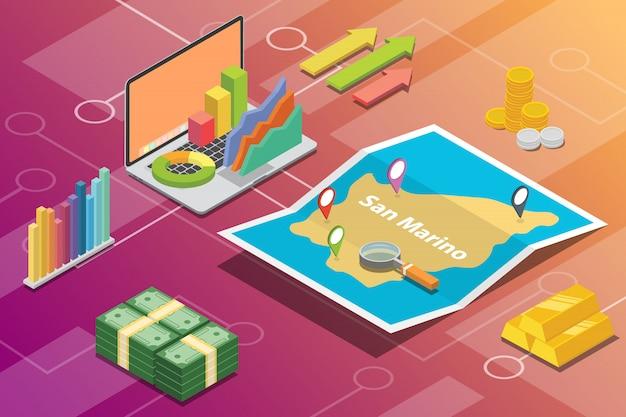 San marino isometric business economy growth country Premium Vector