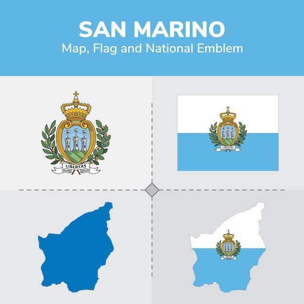 San Marino Map Flag And National Emblem Vector Premium Download - San marino map download