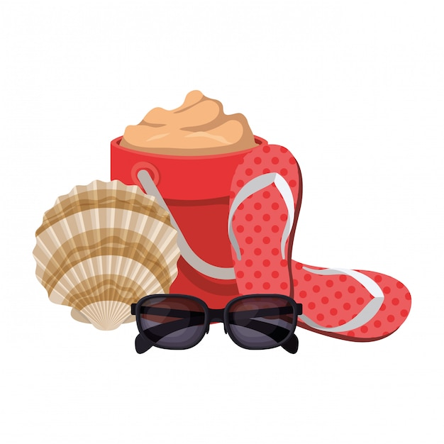 Sand bucket with sunglasses on white Free Vector