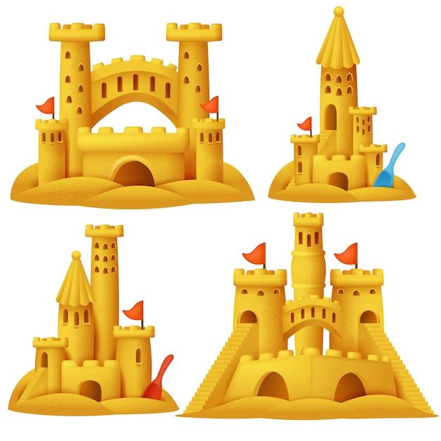 砂の城の漫画セット。ビーチ彫刻の建物。 Premiumベクター