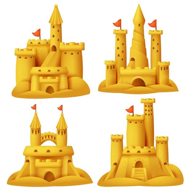 砂のお城セット。ビーチ彫刻の建物。 Premiumベクター