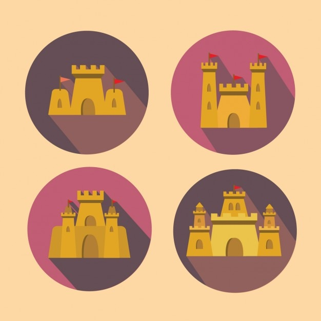 Sand castles collection Free Vector
