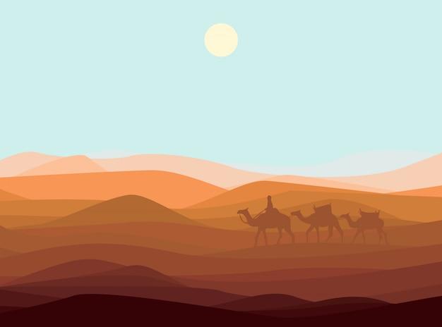砂砂漠の風景テンプレート 無料ベクター