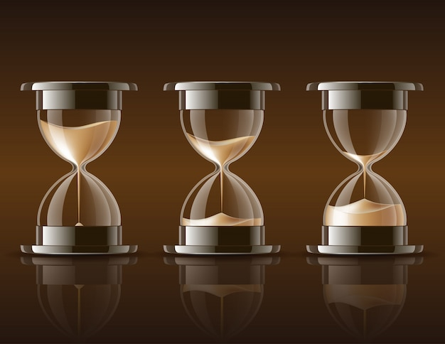 Sand falling in the hourglass. Premium Vector