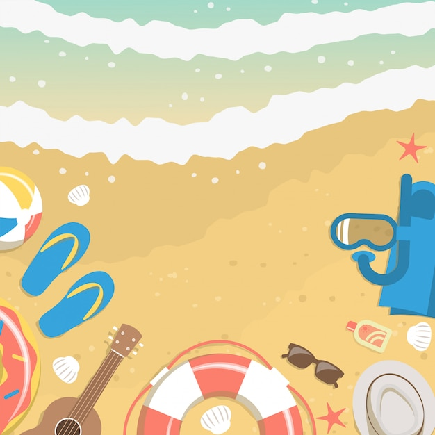 Sand and sea water from top view with summer vacation elements Premium Vector