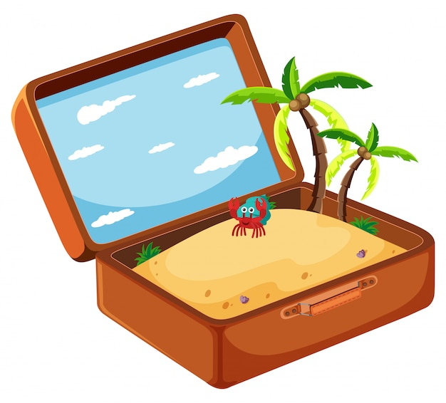 Sand in suitcase concept Free Vector