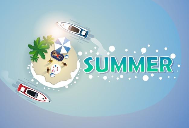 Летний пляжный набор для отдыха sand tropical island holiday banner Premium векторы
