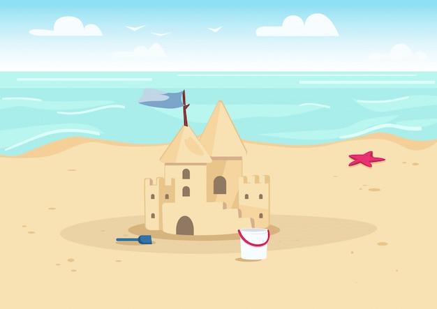 ビーチカラーイラストの砂の城。子供のための夏休みのエンターテイメント。背景に水と海岸漫画風景の砂の城と子供のおもちゃ Premiumベクター