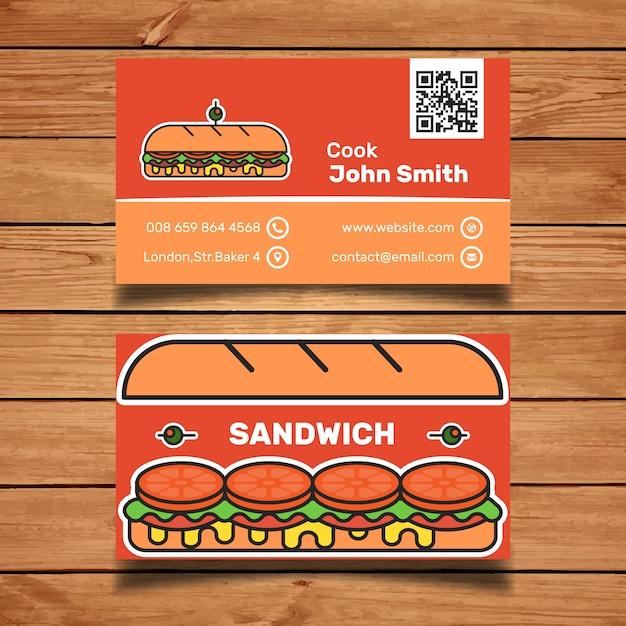 Sandwich business card template Free Vector