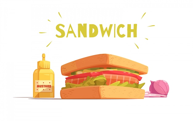 Sandwich cartoon design with toasts salmon tomato salad sliced onion and mustard Free Vector