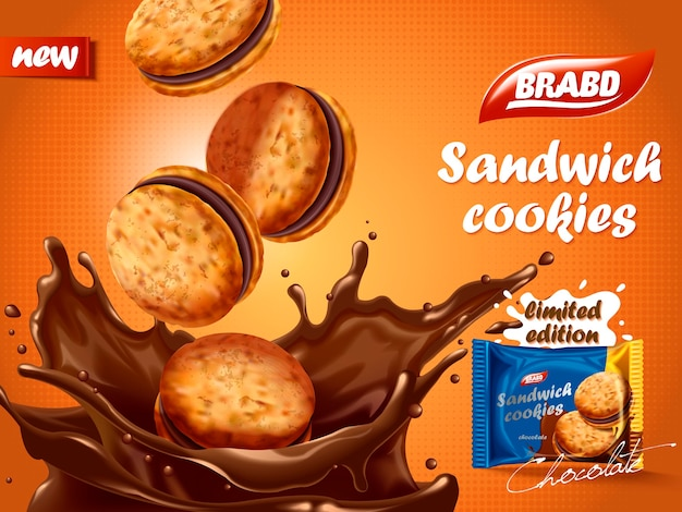 Sandwich chocolate cookies ad, delicious cookies dive into chocolate liquid with splashes, biscuit package design Premium Vector
