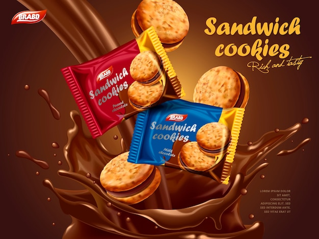 Sandwich cookies ads, different package design with melted chocolate splash with cookies in 3d illustration Premium Vector