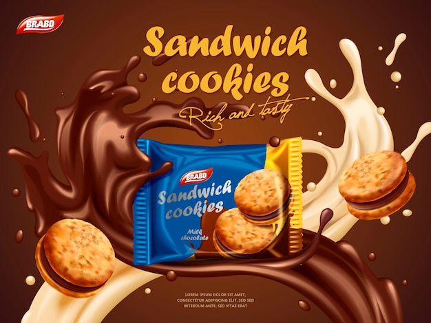 Sandwich cookies ads, milk chocolate flavor with tasty liquid twisted in the air and package in the middle in 3d illustration Premium Vector