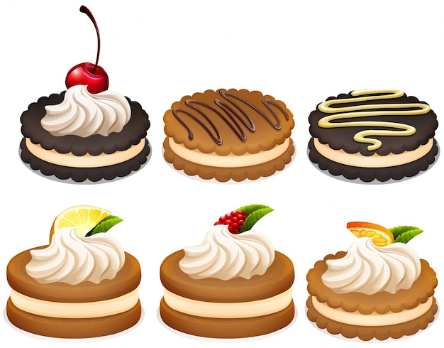 Sandwich cookies with cream illustration Free Vector