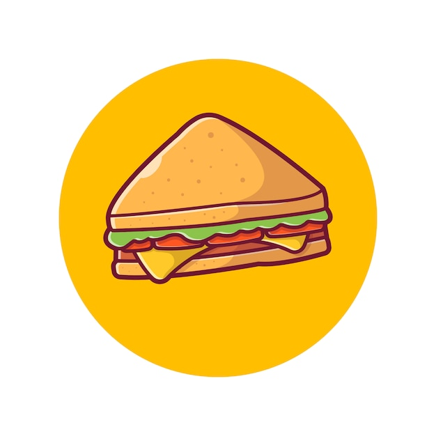 Sandwich  icon . ham and swiss cheese sandwich, food icon  white isolated Premium Vector