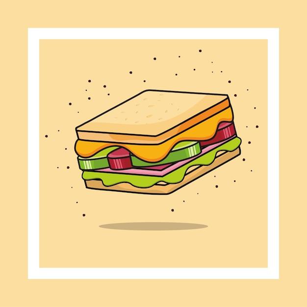 サンドイッチアイコン。サンドイッチイラスト。 Premiumベクター