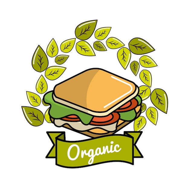 Sandwich Icon With Leaves Organic Concept Premium Vector