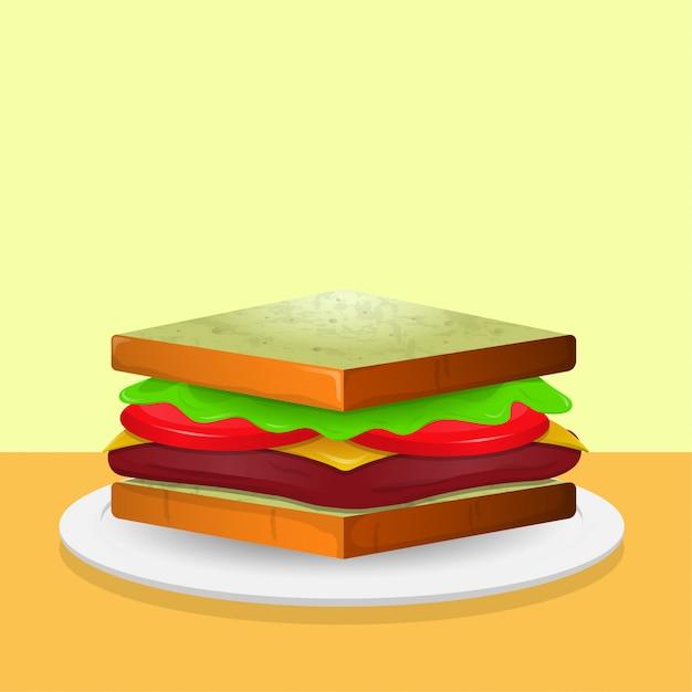 Сэндвич иллюстрация Premium векторы