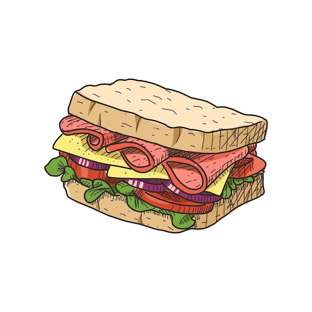 Сэндвич в винтажном стиле рисованной. готов к использованию в любых нуждах. Premium векторы