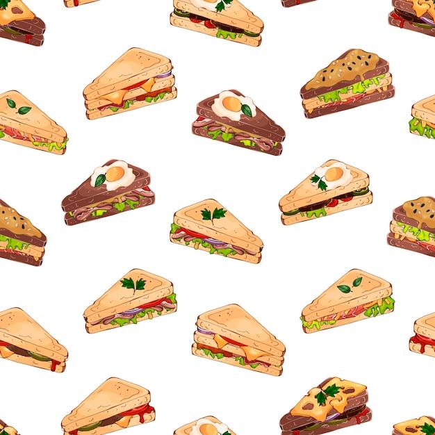 Sandwich pattern Premium Vector
