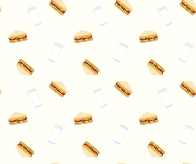 Бутерброды и фон с молочным фоном Premium векторы